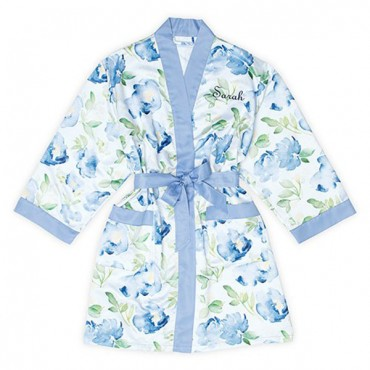 Women's Personalized Embroidered Floral Satin Robe With Pockets - Blue