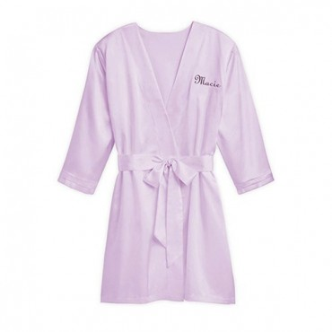Women's Personalized Embroidered Satin Robe With Pockets - Lavender