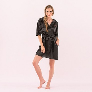 Women's Personalized Embroidered Satin Robe With Pockets - Black