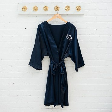 Women's Personalized Embroidered Satin Robe With Pockets - Navy Blue