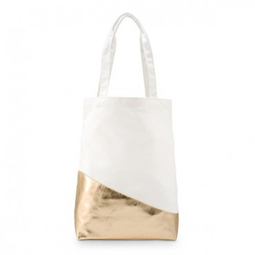 Large Gold & White Cotton Canvas Tote Bag