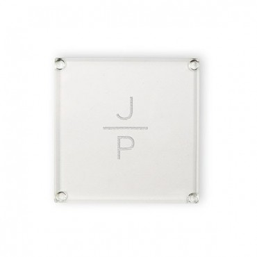 Personalized Glass Coaster - Stacked Monogram