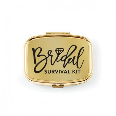 Bridal Survival Small Gold Pocket/Purse Pill Box - 3 Pieces