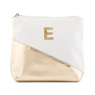 Small Personalized Makeup Bag For Women - Metallic Gold Dipped