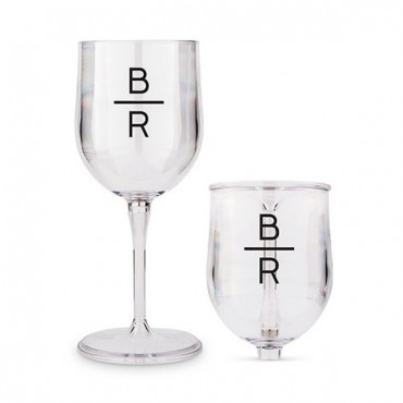 Portable Nesting Wine Glass - Stacked Monogram