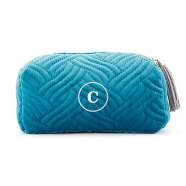Personalized Velvet Quilted Makeup Bag For Women - Light Blue