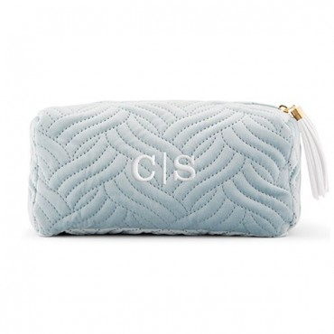 Personalized Velvet Quilted Makeup Bag For Women - Spa Blue