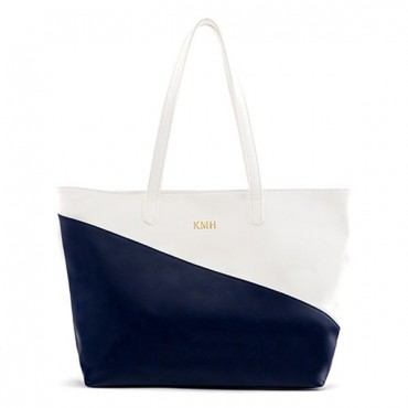 Personalized Color Block Faux Leather Tote Bag - Navy & White