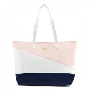 Personalized Color Block Faux Leather Tote Bag - Pink, Navy & White