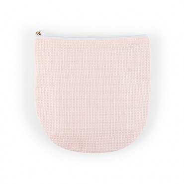 Personalized Small Cotton Waffle Makeup Bag - Blush Pink