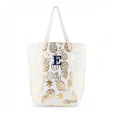 Monogrammed Cotton Canvas Beach Tote Bag - Gold Pineapple Print