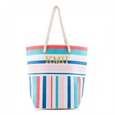 Monogrammed Cotton Canvas Beach Tote Bag - Bright Stripes