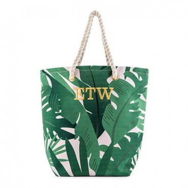 Monogrammed Cotton Canvas Beach Tote Bag - Tropical Leaf