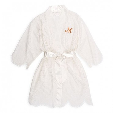 Personalized Embroidered Lace Bridal Wedding Robe - White