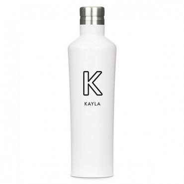Stainless Steel Water Bottle - Modern Shape - Summer Vibes Monogram