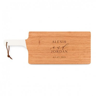 Personalized Wooden Cutting And Serving Board With White Handle - Modern Couple Etching
