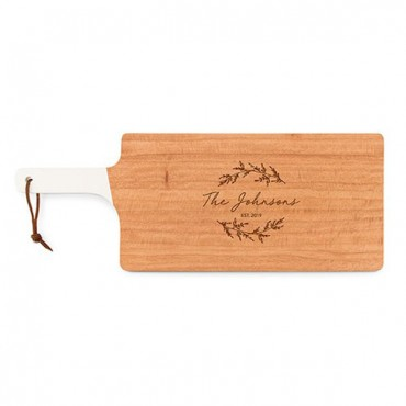Personalized Wooden Cutting And Serving Board With White Handle - Signature Script