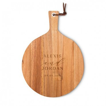 Personalized Round Wooden Cutting And Serving Board With Handle - Modern Couple Etching