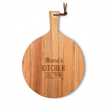 Personalized Round Wooden Cutting And Serving Board With Handle - Kitchen Etching
