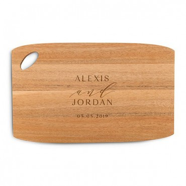 Personalized Wooden Cutting And Serving Board With Oval Handle - Modern Couple