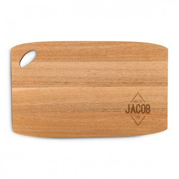 Personalized Wooden Cutting And Serving Board With Oval Handle - Diamond Emblem