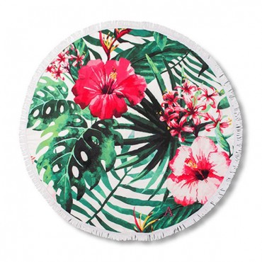 Round Beach Towel - Tropical Hibiscus