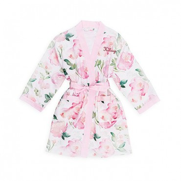 Personalized Embroidered Junior Bridesmaid Satin Robe With Pockets - Pink Floral