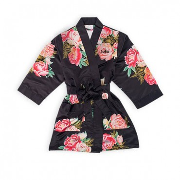 Personalized Flower Girl Satin Robe With Pockets - Black Floral