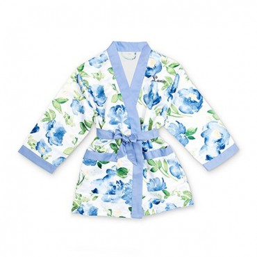 Personalized Flower Girl Satin Robe With Pockets - Blue Floral