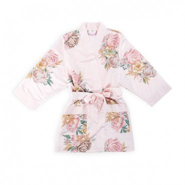 Personalized Flower Girl Satin Robe With Pockets - Blush Floral