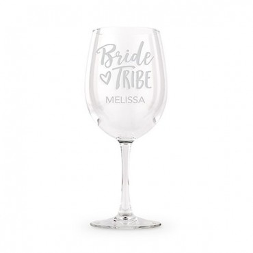 Large Personalized Wine Glass - Bride Tribe