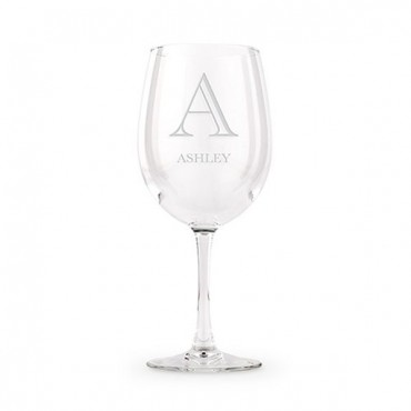 Large Personalized Wine Glass - Classic Monogram