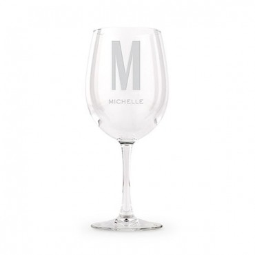 Large Personalized Wine Glass - Simple Monogram