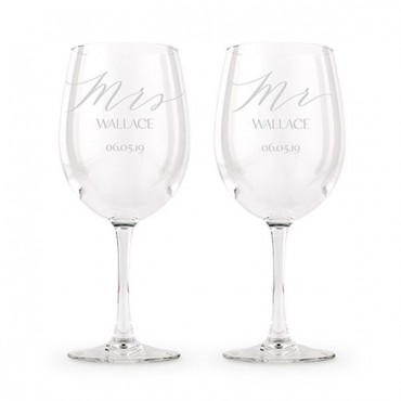 Large Personalized Wine Glass Set - Mr And Mrs