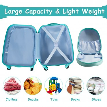 2 Pcs Kids Luggage Set 12 In. Backpack And 16 In. Rolling Suitcase Travel