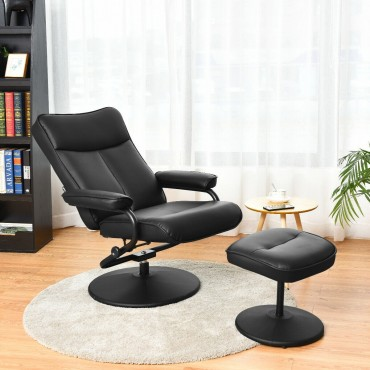 PVC Leather Recliner Chair Lounge Armchair Swivel With Ottoman Black