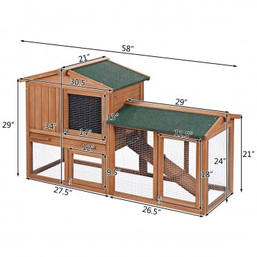 58 In. Large Wooden Rabbit Hutch Chicken Coop