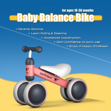 4 Wheels Kids No Pedal Balance Bike