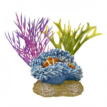 Exotic Environments Aquatic Scene with Clown fish Aquarium Ornament - 4 in. L x 3 in. W x 3 in. H - 2 Pieces