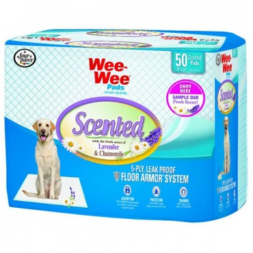 Four Paws Wee - Wee Pads - Lavender and Chamomile Scented - 50 Pack - 22 in. x 23 in. Pads