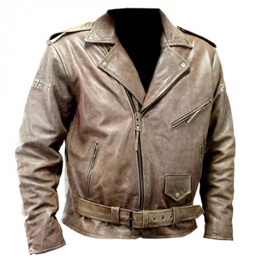 Perrini New Men's Buffalo Motorbike Genuine Leather Biker Jacket Retro Style Brown Jacket