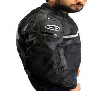 Perrini Mens Black Motorcycle Riding Armor Biker Racing Motorbike Cordura Jacket