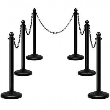 6 Pcs 39.5 In. Chain C-Hooks Fillable Base Plastic Stanchion set