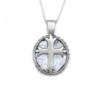 18 in. Oval Roman Glass Cross Necklace