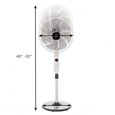 16 In. 12 Speed 7 Blades Height Remote Control Pedestal Fan