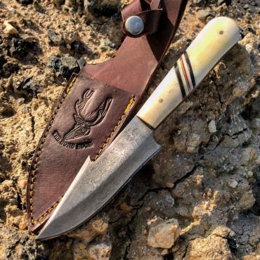9 in. The Bone Edge Full Tang Damascus Knife with Bone Handle