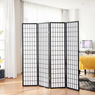 4 Panel Folding Shoji Room Divider Screen With Pine Wood Frame