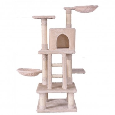 46 In. Condo Scratching Posts Ladder Cat Play Tree - Beige