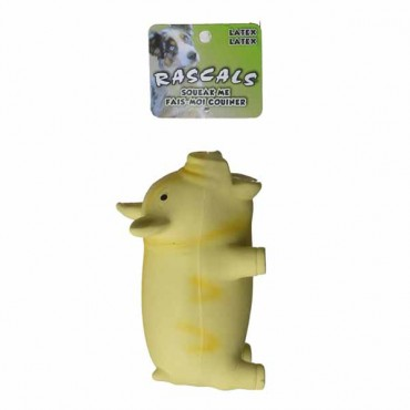 Rascals Latex Grunting Pig Dog Toy - Yellow - 6.25 in. Long - 2 Pieces