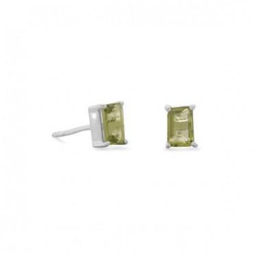 Emerald Cut Peridot Post Earrings